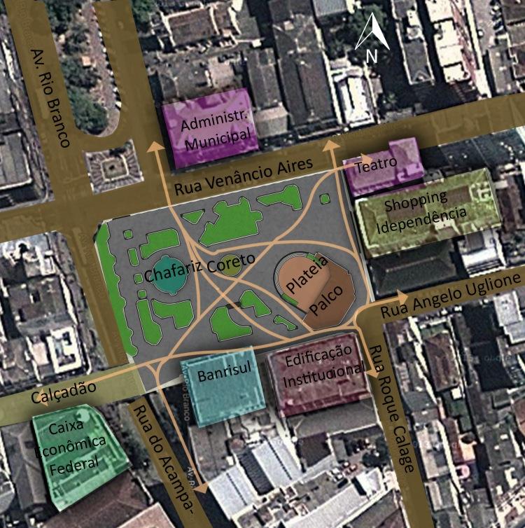 Principais rotas de de pedestres que usam a praça como travessia