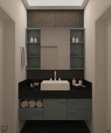 Bancada do banheiro compartilhado - acesso aos dois dormitórios