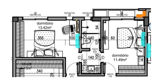 PLanta baixa de dormitórios com banheiros compartilhados